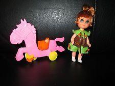 Rare Liddle Kiddles Heather Hiddlehorse Doll & Little Pink Horse Skediddles Pony
