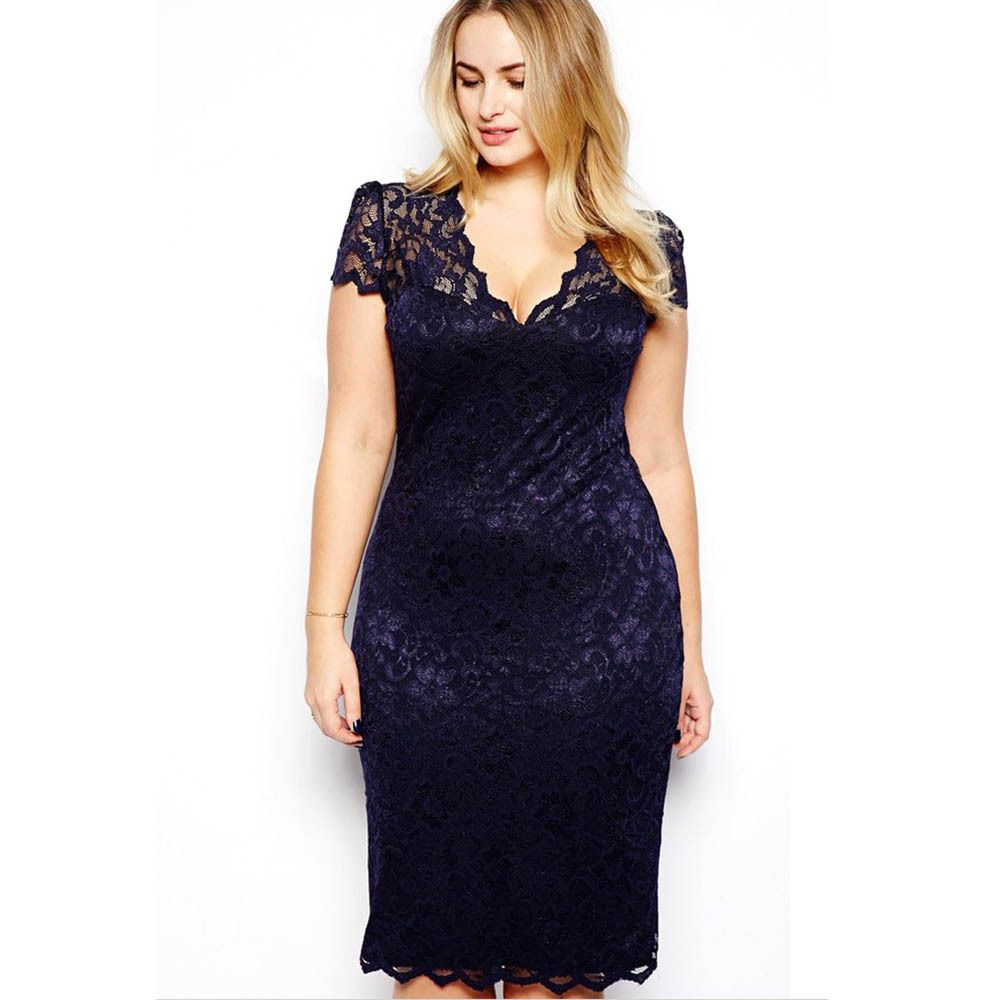 020c3f109ea9d Autumn Summer Plus Size Sexy Women V-neck Lace Stretch Cocktail Party  Bodycon Pencil Dress M-XXXL