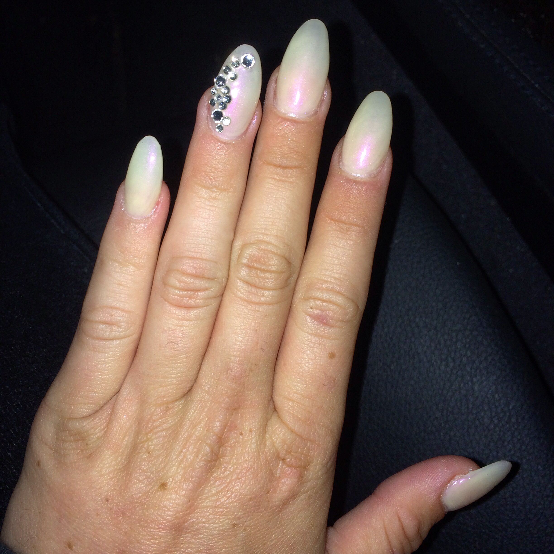 Iridescent Stiletto Nails with Rhinestones #stiletto #nails ...