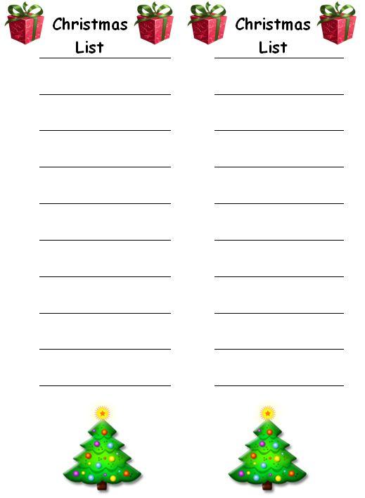 Christmas List Template  For The Writing Area  Christmas Ideas