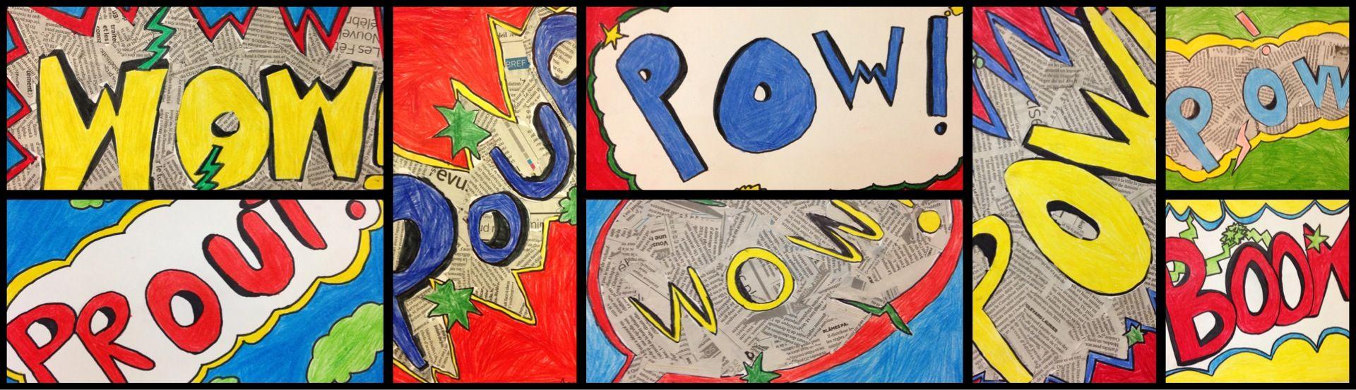 4e année - Inspiré du pop art et de la bd, crayons de couleurs et cartons, techniques de dessin.
