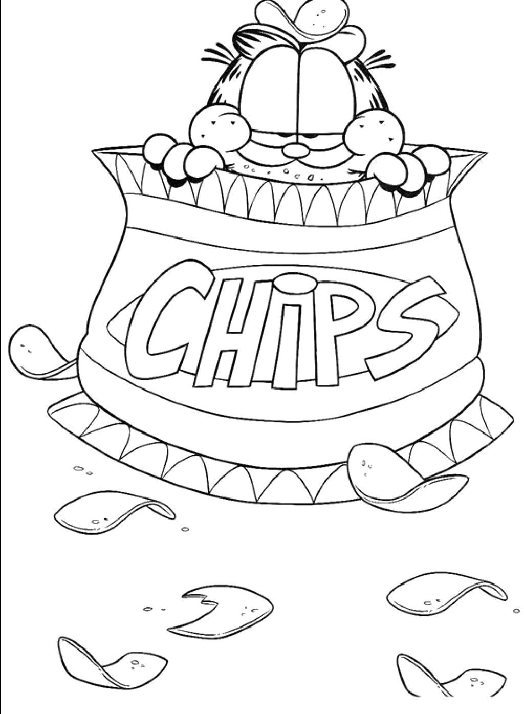 Garfield Chips Coloring Page | Coloring Pages | Pinterest