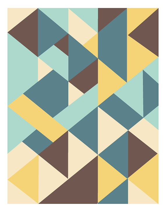 Wall Art Decor Mid Century Modern Abstract Geometric Art