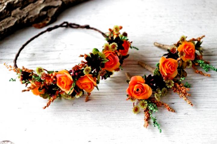 Fall Orange Burgundy Flower Crown For Weddings And Photo Etsy Flowers Fall Wedding Flowers Orange Floral Crown Wedding Fall Wedding Flowers