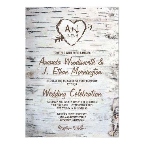 Country Wedding Invitations Rustic Birch Tree Bark