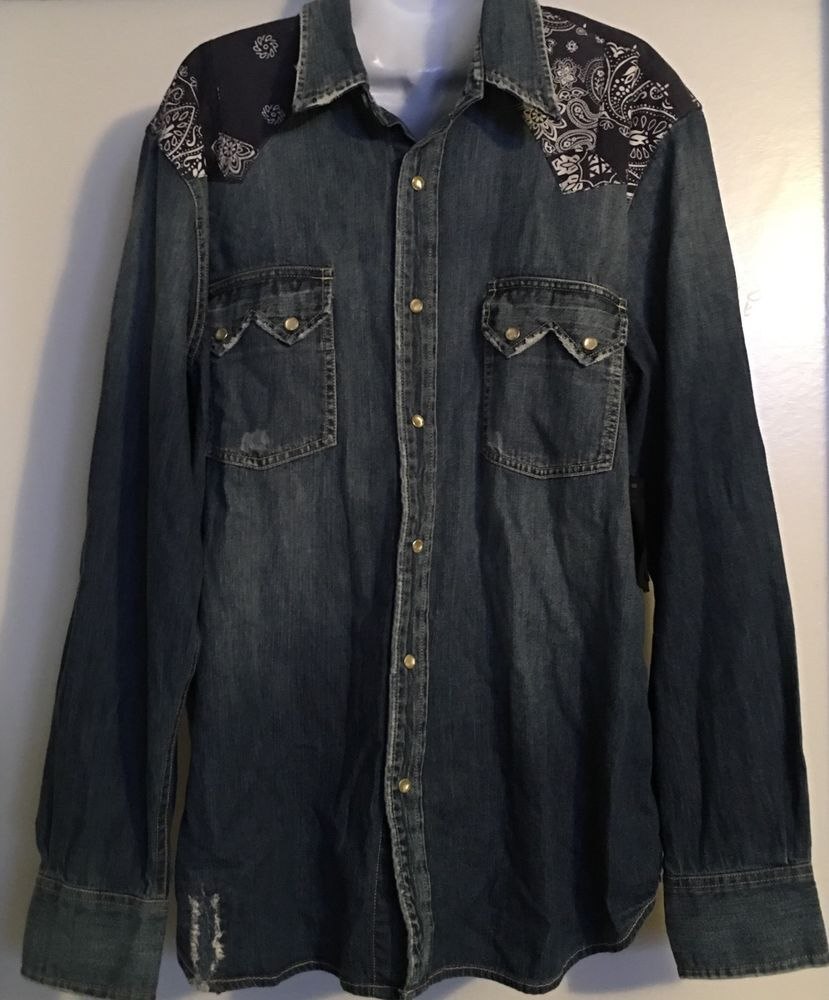 ea4d85f923a Mens Lucky Brand Embroidered paisley denim chambray western shirt Pearlsz  XL New