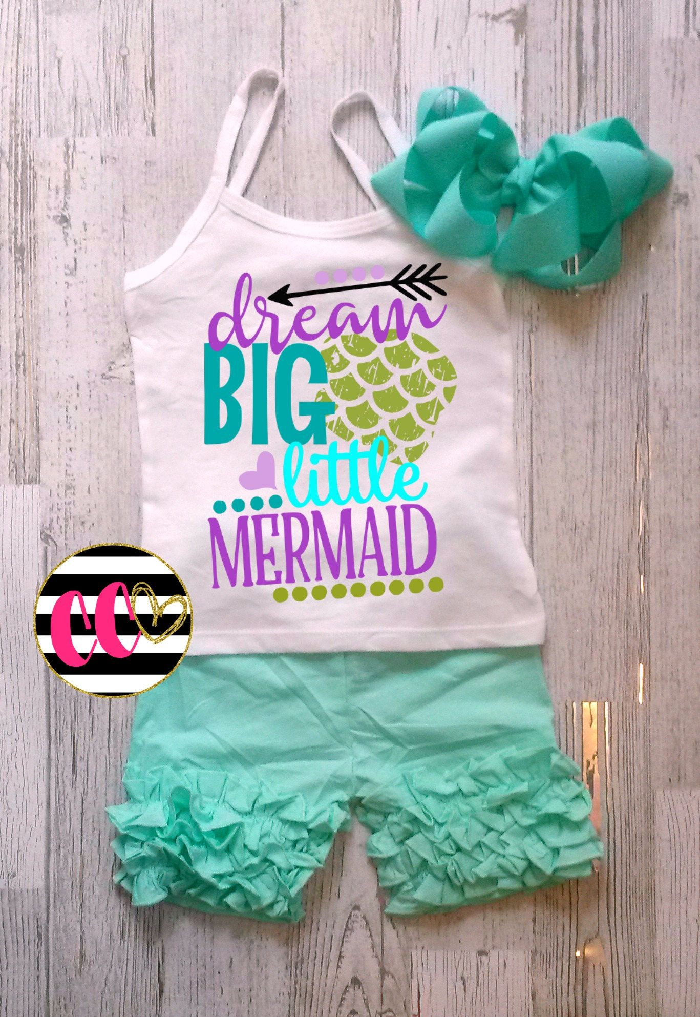 df6cd8e2dbe6 dream big little mermaid.baby girl.mermaid outfit. birthday set.first  birthday.vacation outfit by ChubbyOCheeks on Etsy