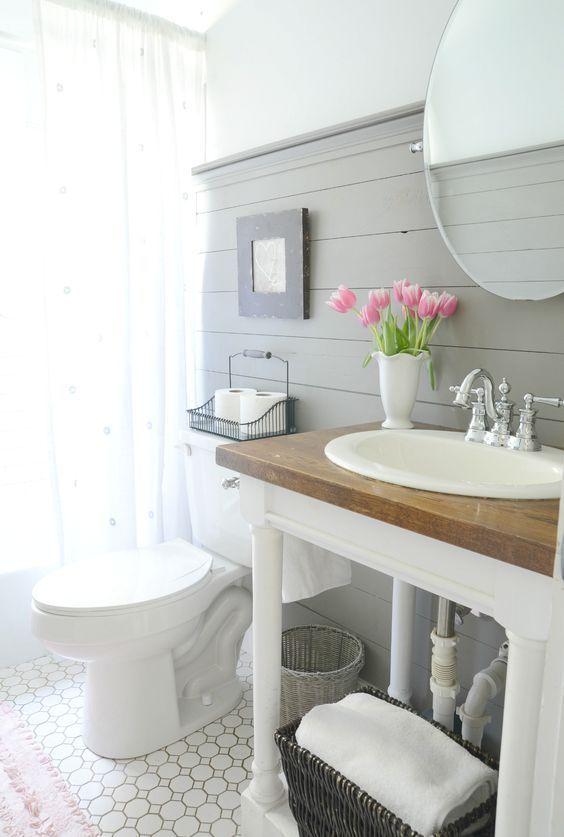 How To Style A Modern Farmhouse Bathroom Beneath My Heart Small Farmhouse Bathroom Modern Farmhouse Bathroom Small Bathroom Remodel