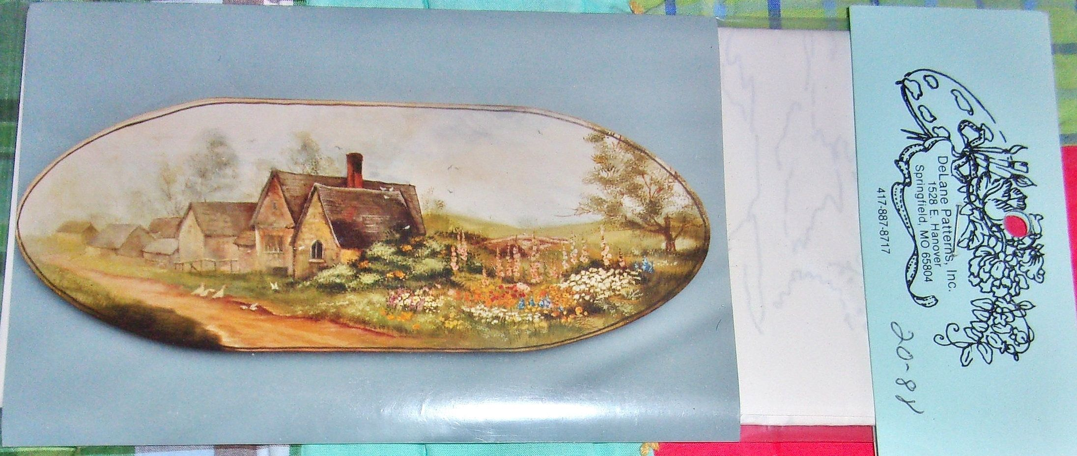 Cottage Garden Vtg 1988 DeLane Lange Tole Painting Pattern Paint Rural English Country Scene Rustic Farm House Flowers Home Decor Sealed NIP #tolepainting