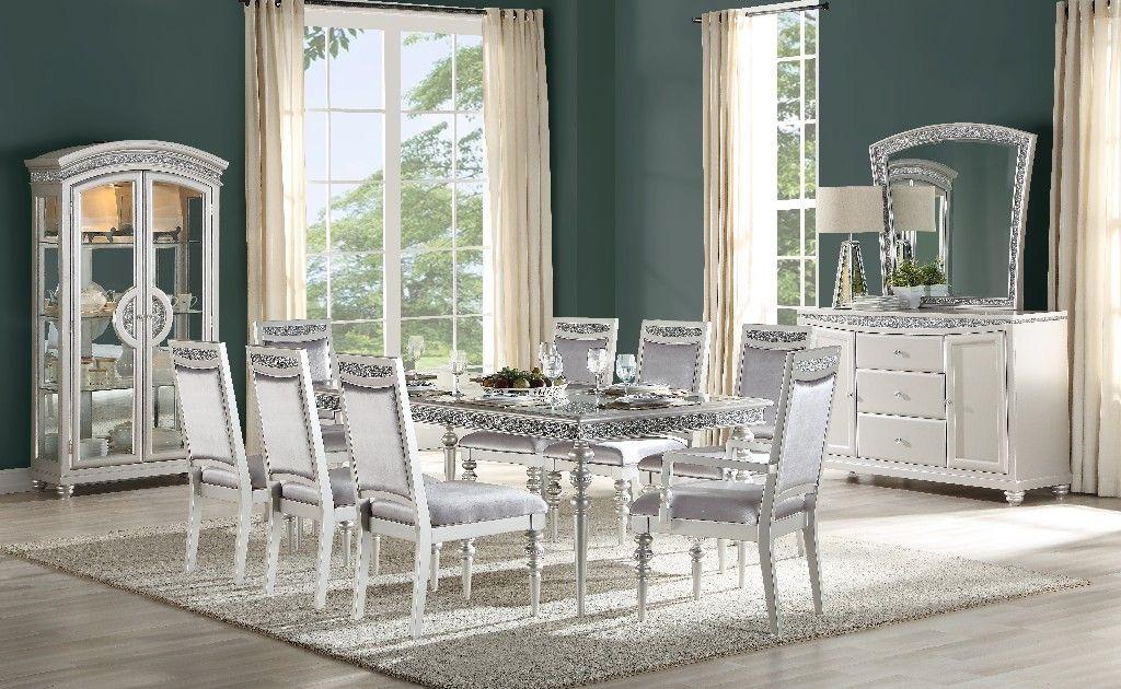 Maverick Dining Table In Platinum Acme Furniture 61800 In 2020