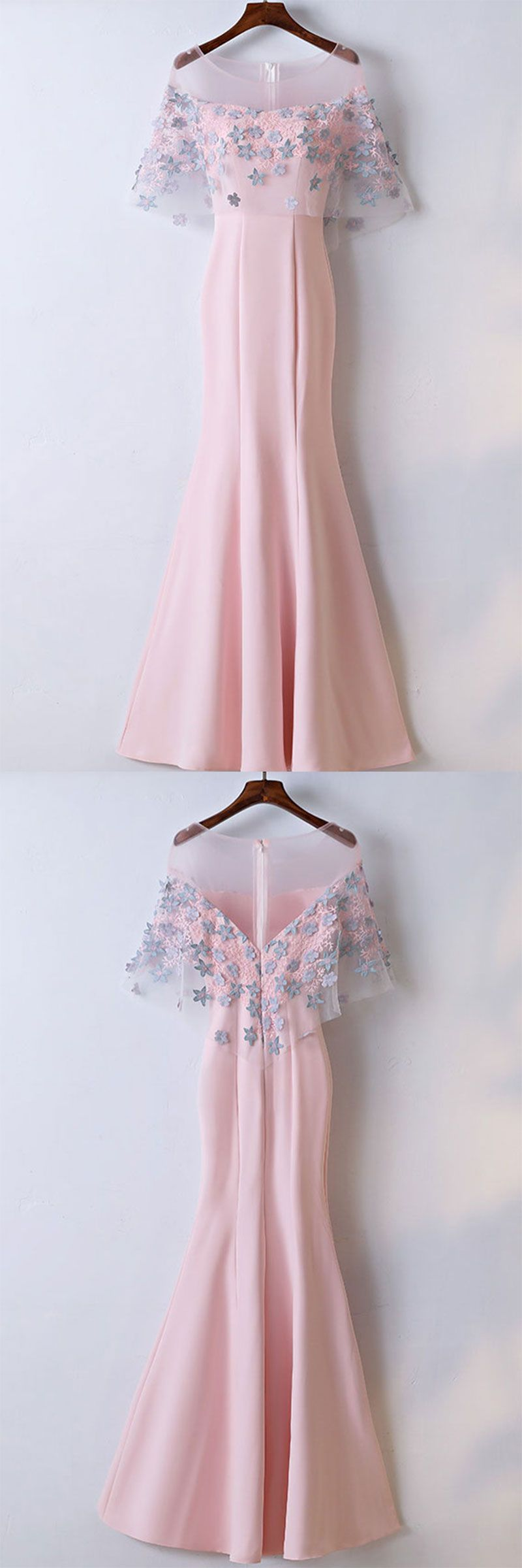 Pink round neck satin lace applique long prom dress pink evening