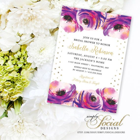 Rose Flowers Purple and Pink Watercolor Gold Dots Bridal Shower Invitation Printable