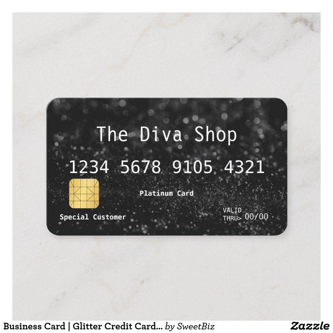 Business Card Glitter Credit Card Black Zazzle Com Business Credit Cards Cards Business Cards