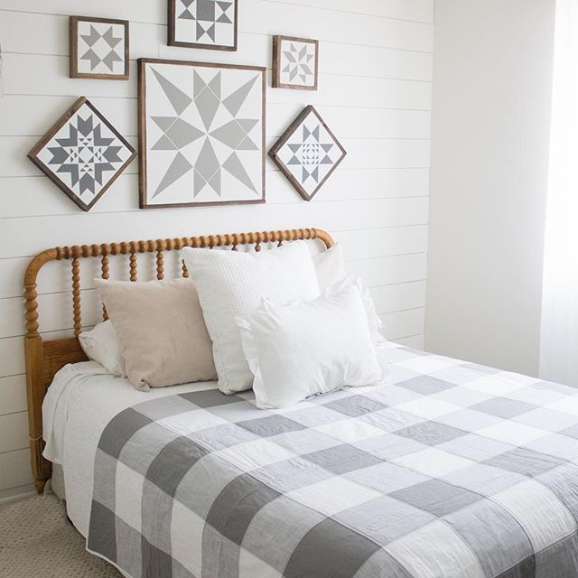 Before starting our farmhouse shop @littlebitsofeverythinginc  I was a blogger! Once our shop got busy I abandoned blogging,  altogether, just this past fall I decide to dive back into blogging again! One of the first DIY projects my husband and I tackled was this shiplap wall! This room was our surprise baby's nursery and we just flipped it back to the guest room last week! One of the things I love so much about design and interiors is creating a space that works for your needs but is also…