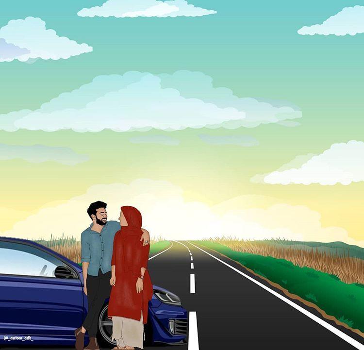 Pin On R Muslim couple cartoon hd wallpaper