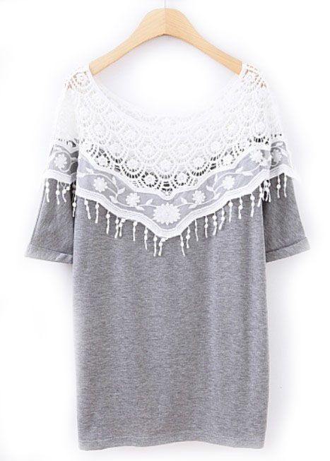 Grey Contrast Lace Short Sleeve Loose T-Shirt