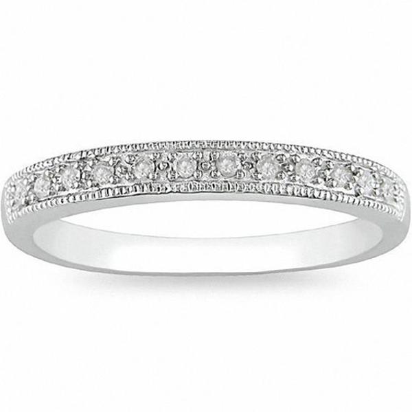 1/10 CT. T.w. Diamond Milgrain Wedding Band in 10K White