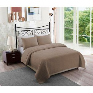 Solid Taupe Bedding Quilt Set, paired with coral
