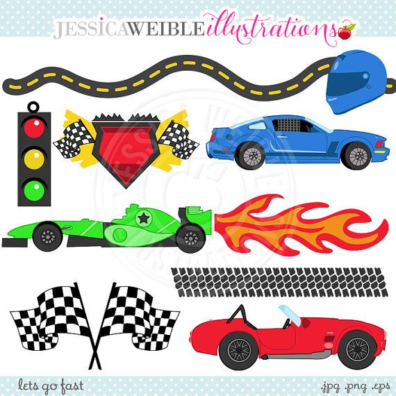 Lets Go Fast Cute Digital Clipart Commercial Use Ok Racing Etsy Clip Art Digital Clip Art Race Car Birthday Party