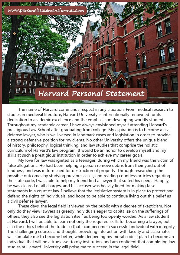 What is the best Harvard personal statement format? Personal - personal statement format