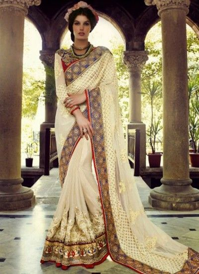 Buy Cream Colour Crepe Party Wear Saree at very affordable price.Free Shipping across India, Worldwide Shipping Available.