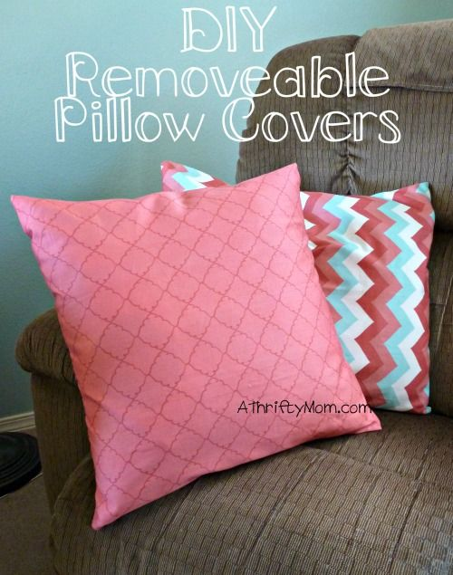 How To Sew A Pillow Cover Mesmerizing Diy Removable Pillow Covers Throw Pillows Pillows Thrifty Design Decoration