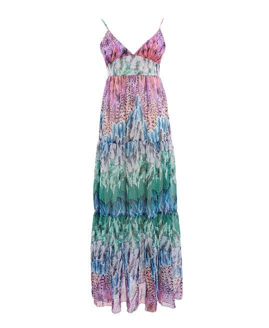Floral Print Strappy Chiffon Maxi Dress with Deep V Neckline