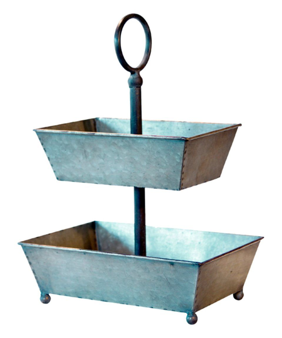 Take a look at this Galvanized Gray & Black Two-Tier Tray today ...