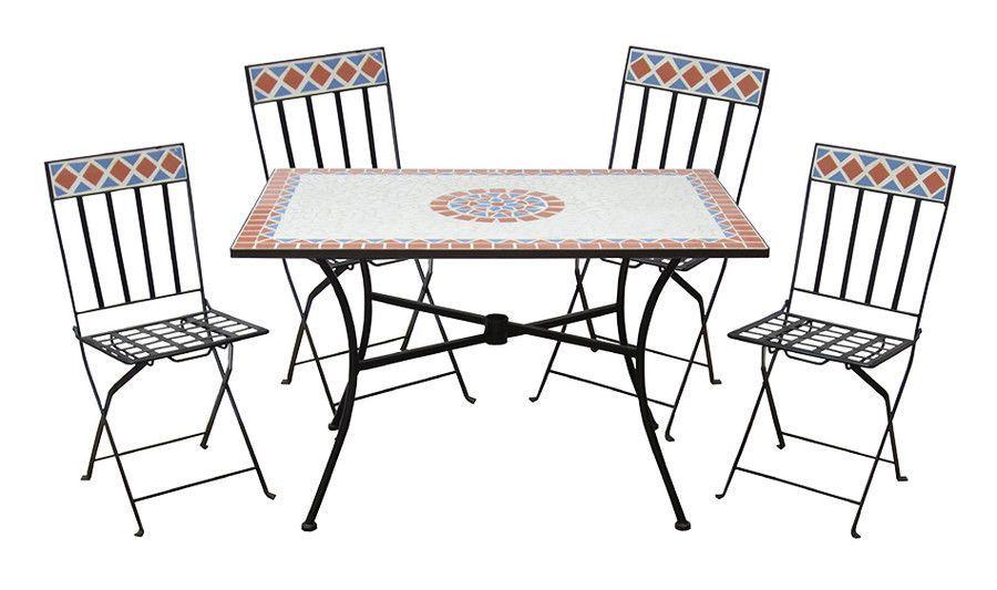 Sedie Da Giardino In Ferro Battuto Pieghevoli.Set Da Giardino Mosaico In Acciaio Con Tavolo E Sedie