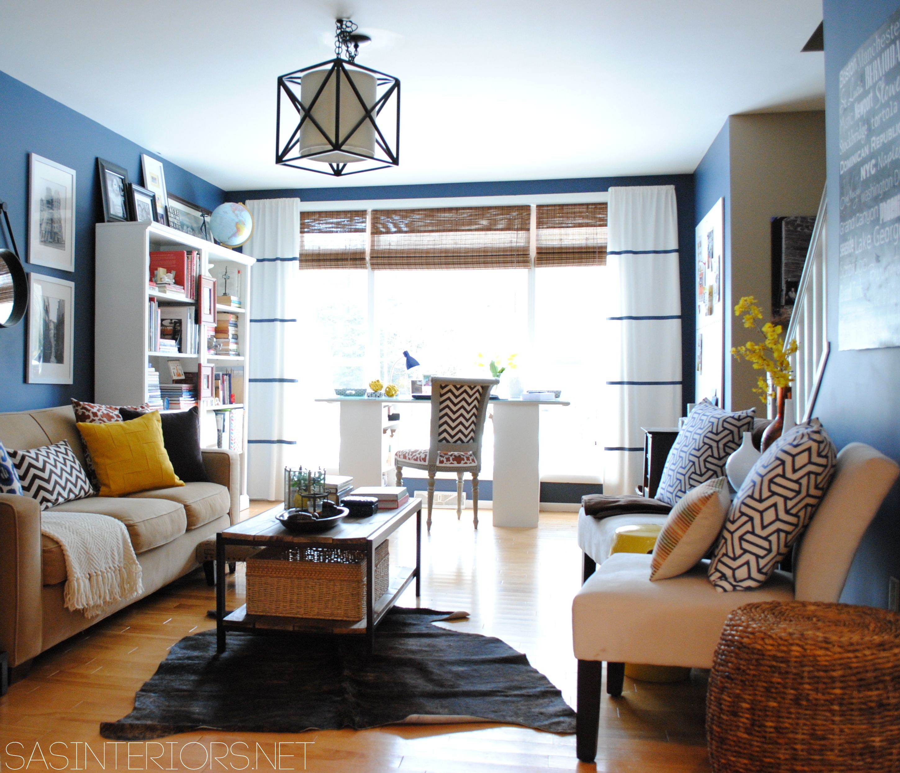 Home Office / Family Room Reveal with Navy walls & Yellow accents by ...