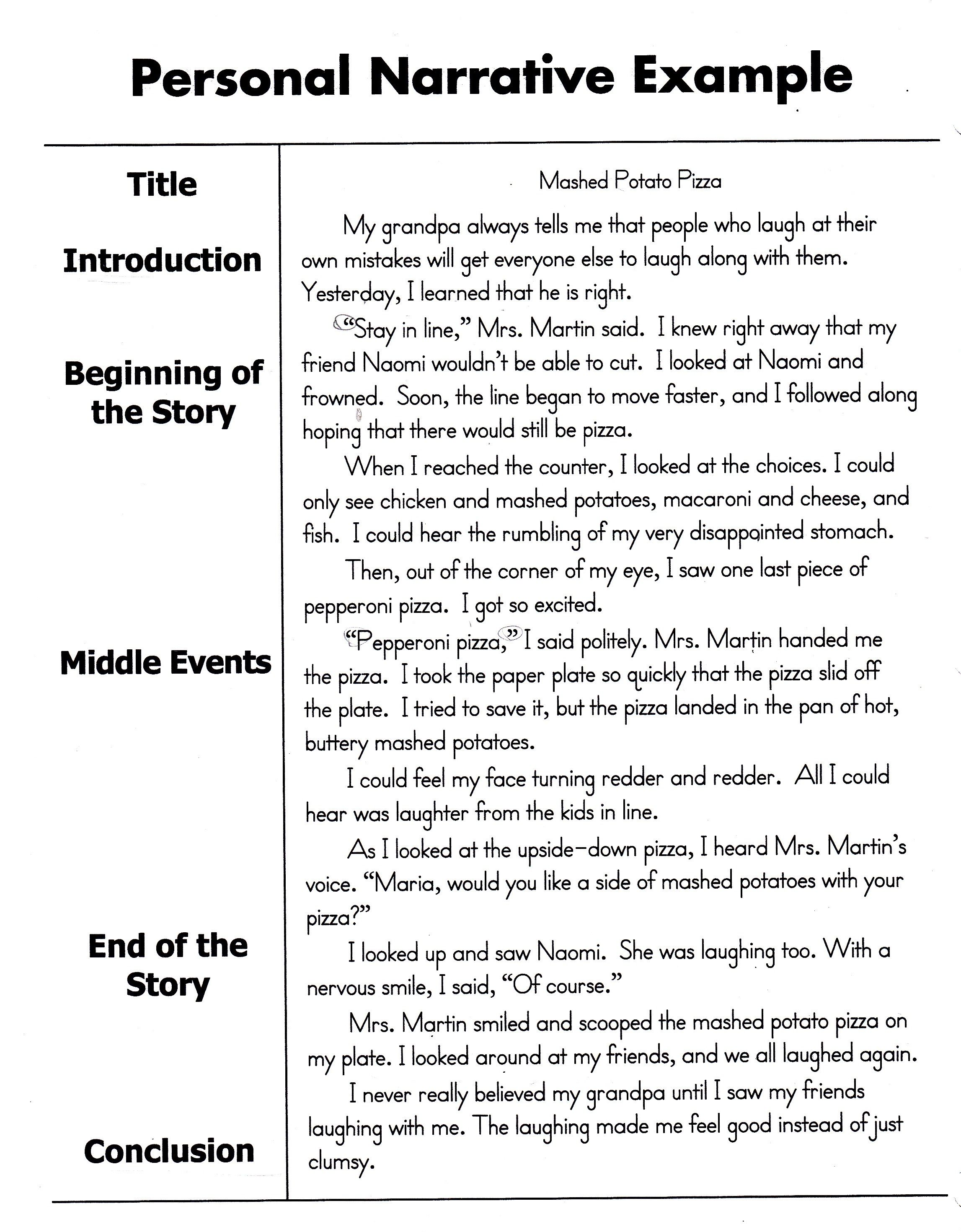 Personal Narrative Examples 8Th Grade