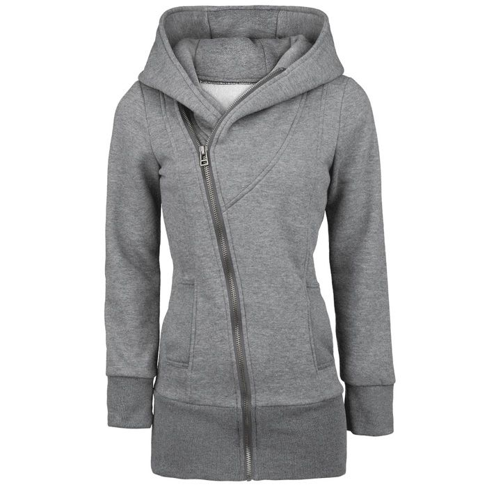 casual zipper solid color plus size long sleeves hoodie for women