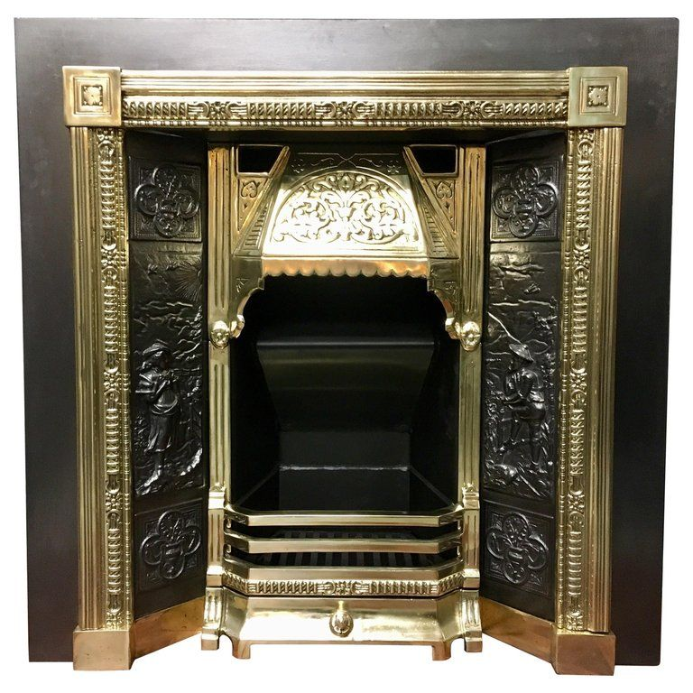 19th Century Victorian Style Cast Iron Brass Fireplace Surround Insert Antique Fireplace Surround Antique Fireplace Victorian Fireplace