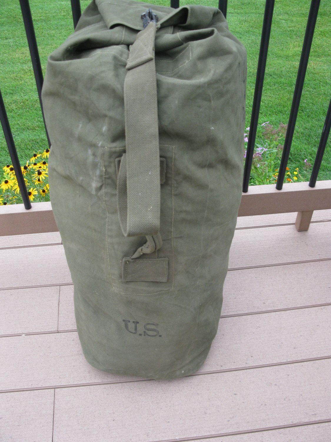 duffel and or backpack military bag Vintage Green canvas U.S