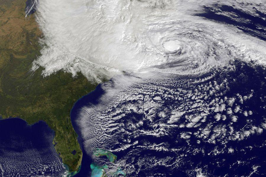 Hurricane Sandy approaching New York City.