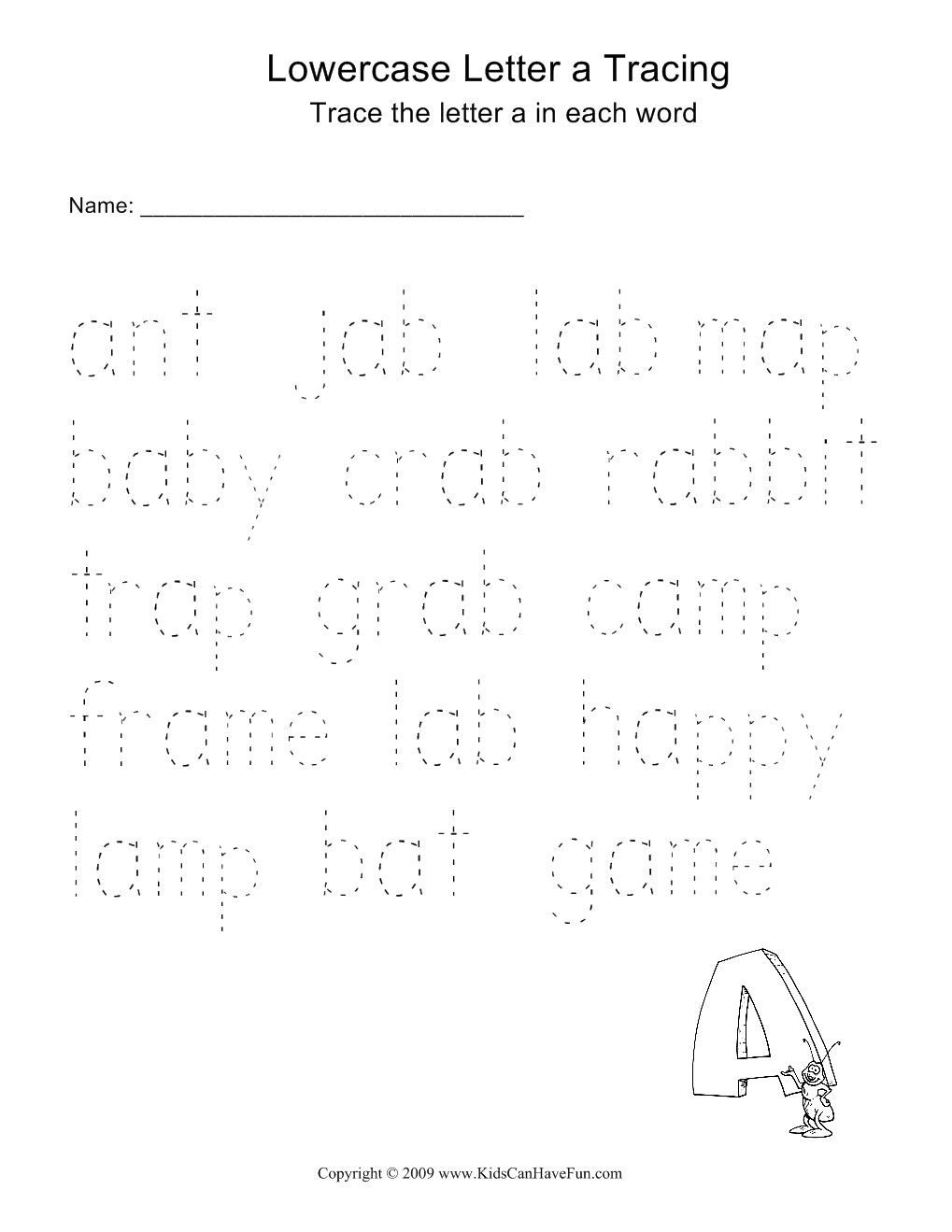 Word Tracing Worksheets For Kids Printables – Name Tracer Worksheets