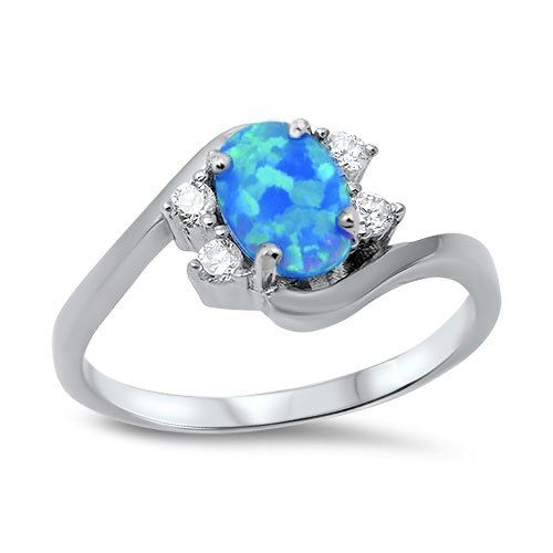 Oval Blue Simulated Opal Swirl Tension Ring Sterling Silver Size 7 *** You can get more details by clicking on the image. (This is an affiliate link and I receive a commission for the sales)