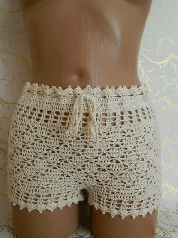 Crochet beige shorts Nude crochet pants Boho crochet summer shorts Lace crochet shorts Cotton bikini shorts Crochet cover up Beige pants #shortslace