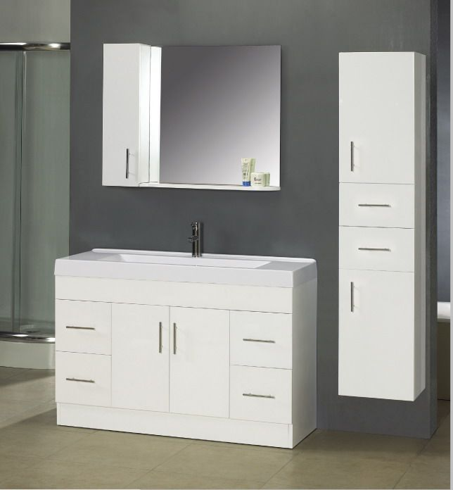 Modern White Bathroom Vanity Cabinets   Home Design And Decor Ideas Amazing Design