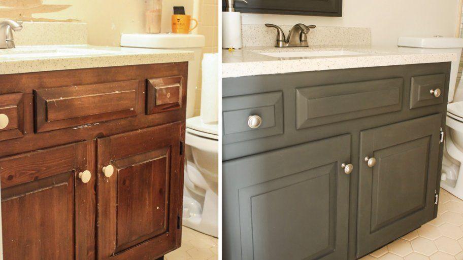 How To Paint A Bathroom Vanity Painted Vanity Bathroom Painting Bathroom Bathroom Cabinet Makeover
