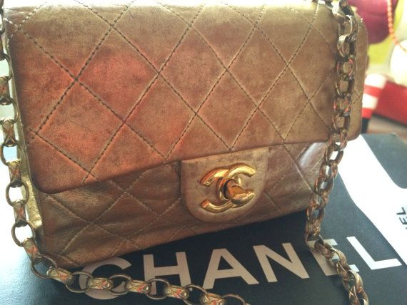 Chanel Coco Quited Mini Flap Purse Jumbo Gold By Vintagevixen2015 Chanel Chanel Flap Vintage Purses