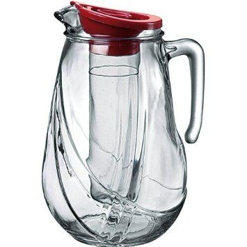 Amazon Com Bormioli Rocco Rolly Jug With Ice Container And Red Lid 87 1 4 Ounce Pitchers Home Kitche Bormioli Rocco Modern Glass Pitcher History Of Glass