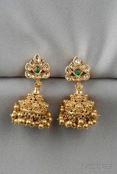 21kt Gold Gem-set Earpendants | Sale Number 2610B, Lot Number 87 | Skinner Auctioneers