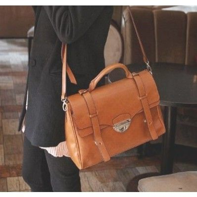 Women's Large Brown Cross Body Handbag Satchel Messenger Bag, Faux ...