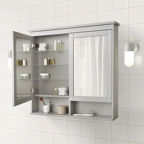 Hemnes Spiegelschrank 2 Turen Grau Ikea Deutschland In 2020 Badezimmer Klein Badezimmer Renovieren Badezimmer Design
