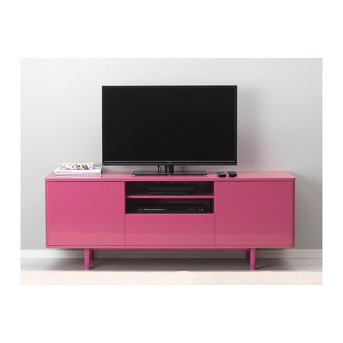 MOSTORP TV unit, beige high gloss beige | Tv units, Tv bench and ...