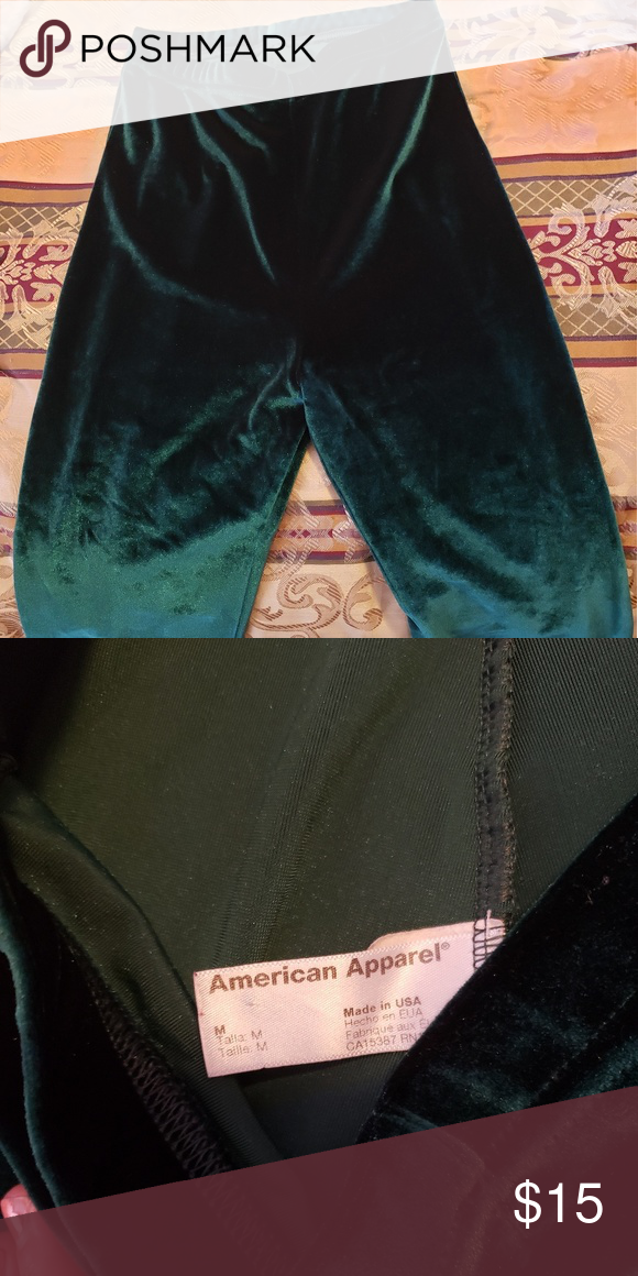 2c62b4043e282 American apparel leggings Dark green velvet leggings. Worn a few times. In  great condition. Tag says medium but they fit more like an xs.