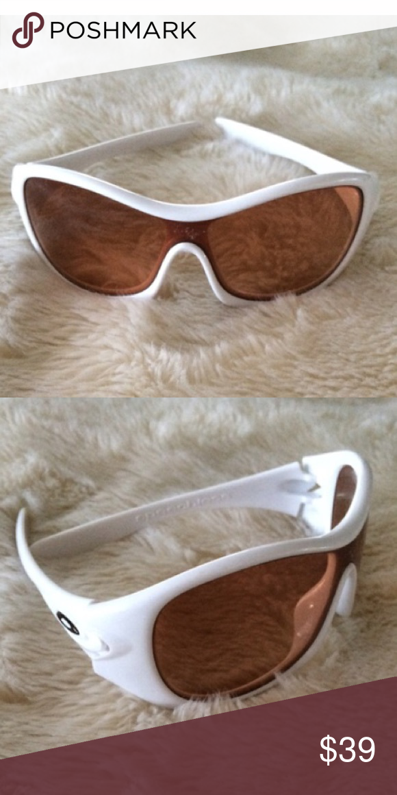 Oakley Sunnies- Eternal Pearl White Excellent used condition. Great price for Oakleys. Bought used on Poshmark for my daughter but she changed her mind. No scratches. 2 tiny scuffs. No case. Price reflects the scuffs. Oakley Accessories Sunglasses