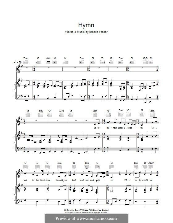 Hymn: For voice and piano (or guitar) by Brooke Fraser | Music I ...