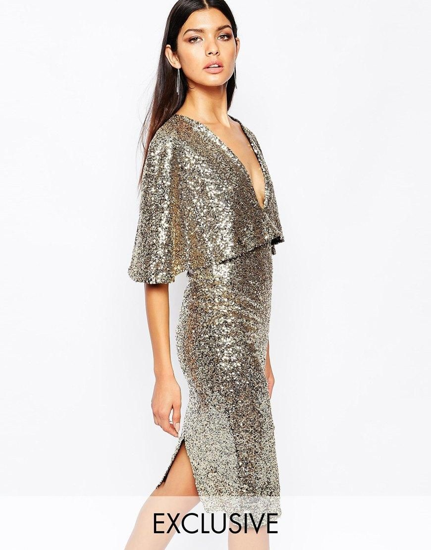 club l club l kimono sleeve midi dress in allover sequin with center split at asos wedding. Black Bedroom Furniture Sets. Home Design Ideas